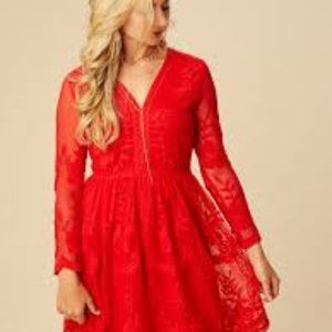 Altar'd State Red Lace Lavesta Dress Size Small